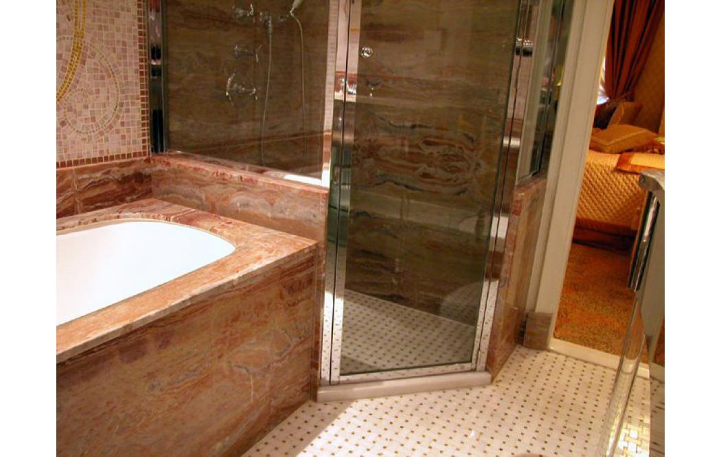 столешница в ванную - Розовый мрамор Arabescato Orobico (Арабескато Оробіко)